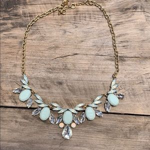 J.Crew mint and gold tone necklace.
